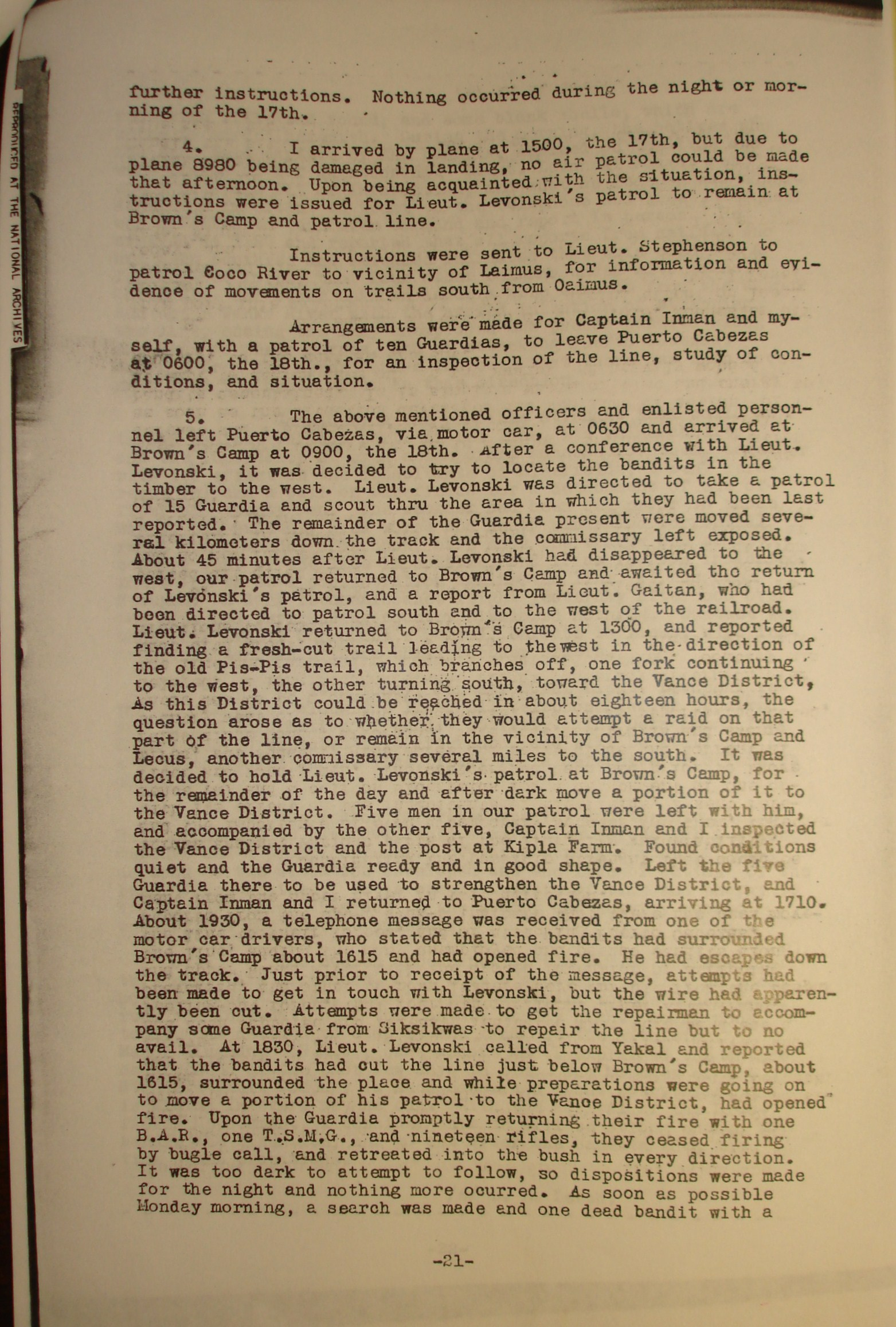 3. 20 January 1932. Report on activities in the Dept of Northern Bluefields and Movement of Patrols since 15 Jan 1932, Col. L. L. Leech, Bluefields, p. 3.